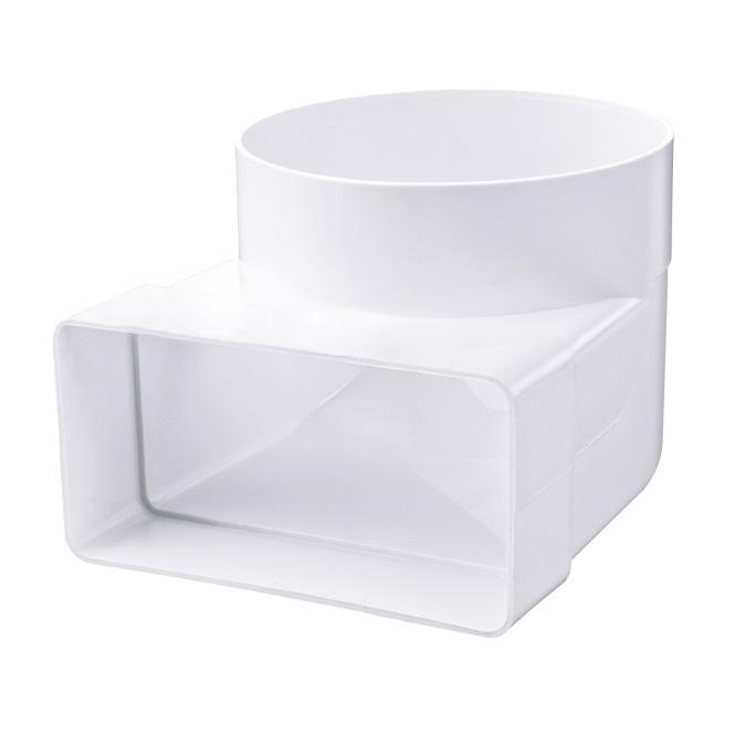 Lepelhoek 90° verbinding PVC-buis plat-rond
