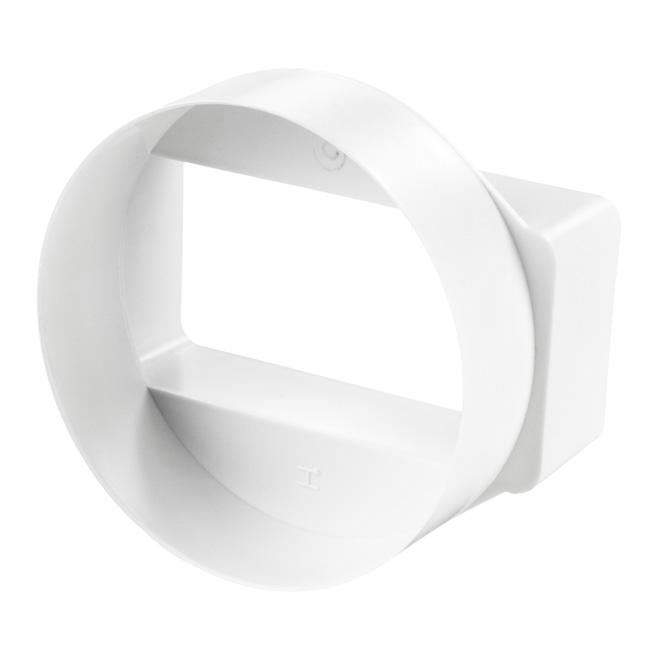 PVC-verloopstuk platte-ronde buis kort